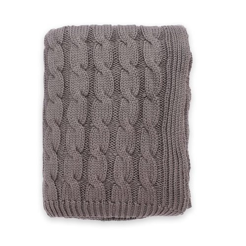 Darzzi Big Cable Grey Throw