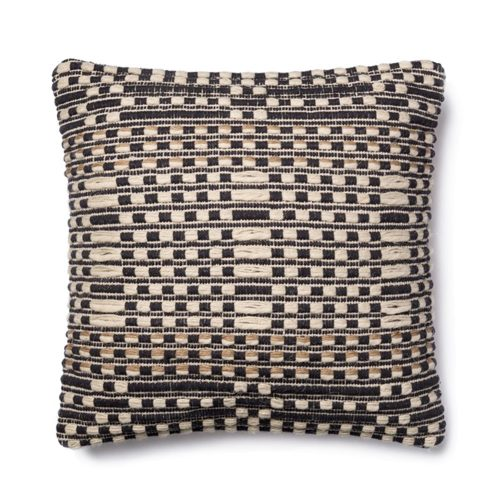 Magnolia Home Black Tan Broken Stripe Pillow