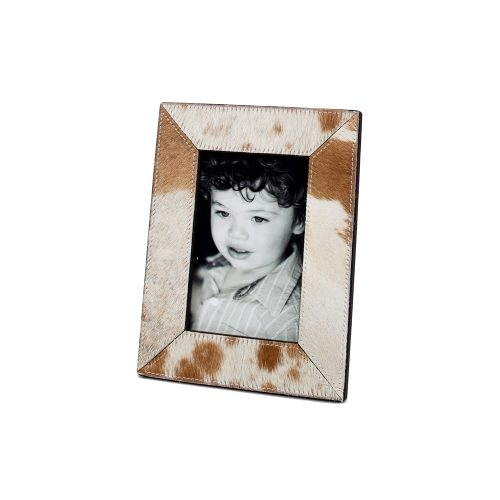Two's Company Brown and White Cowhide Frame