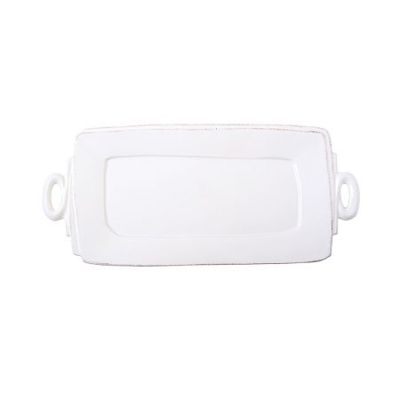 Vietri Lastra White Rectangle Platter with Handles