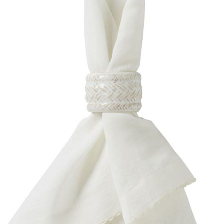 Juliska Le Panier Whitewashed Ceramic Napkin Ring
