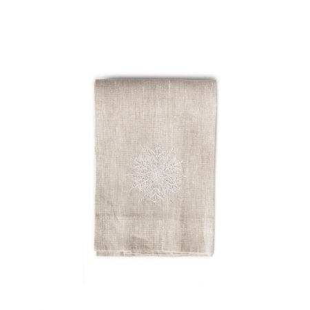 Crown Linen Flax Snowflake Tea Towel
