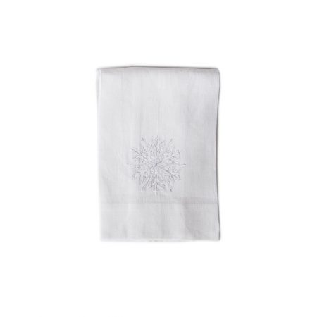 Crown Linen White Snowflake Tea Towel