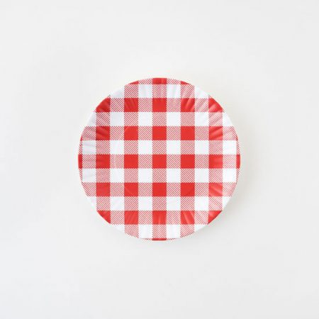 Melamine Red Gingham Plate