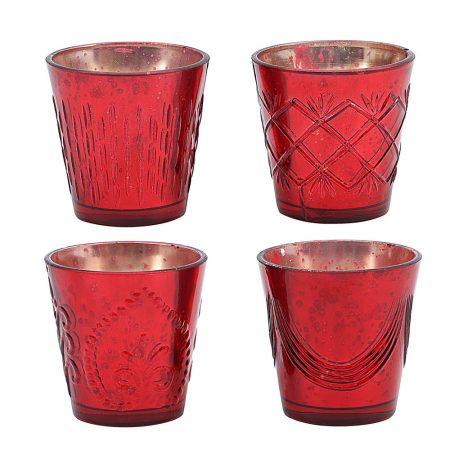 Red Etched Glass Votives