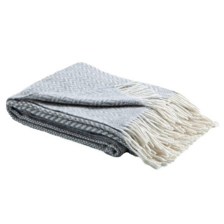Fibre Herringbone Throw Grey