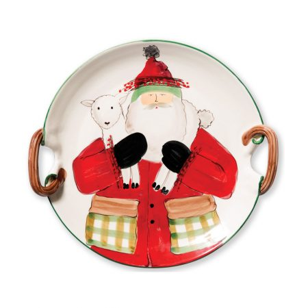 Vietri Old Saint Nick Platter with Handles