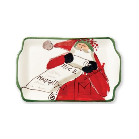 Vietri Old Saint Nick Naughty or Nice Plate
