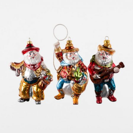 cowboy santa ornament set