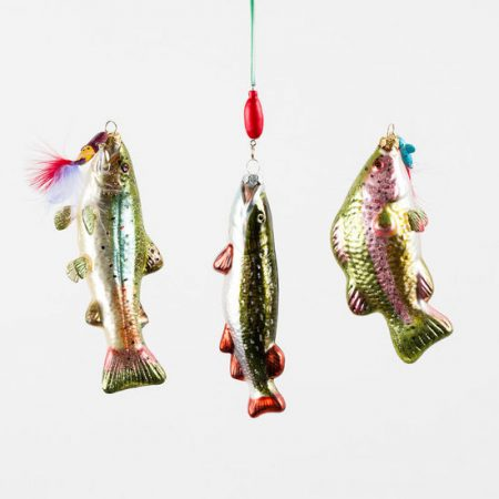 trout ornament set