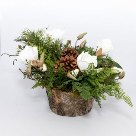 Faux Magnolia and Evergreen Arrangement