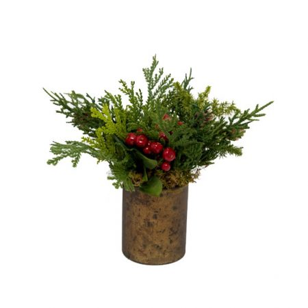 Evergreen Arrangement with Red Berries