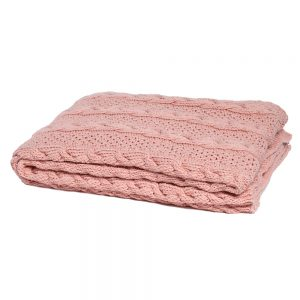 Chunky Cable Throw Blush