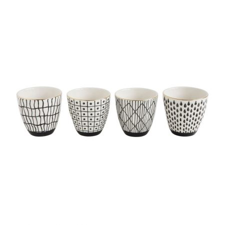 black and white stoneware cups