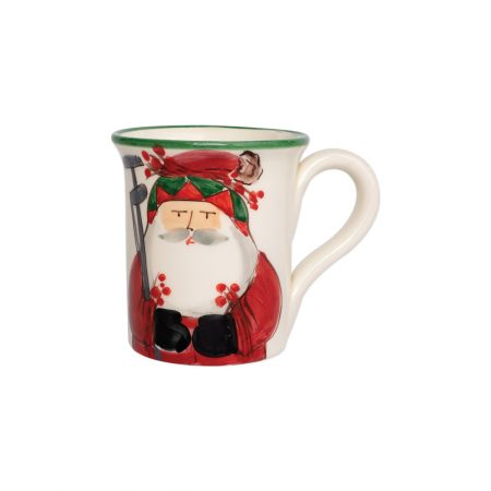 Vietri Old Saint Nick Mug with Golfing Santa