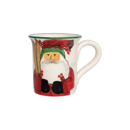 Vietri Old Saint Nick Mug with Skiing Santa