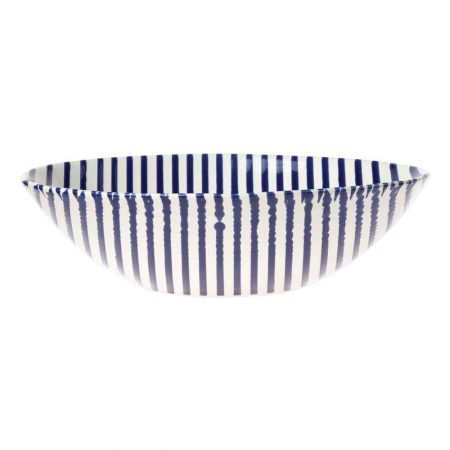 Vietri Stripe Blue Serving Bowl
