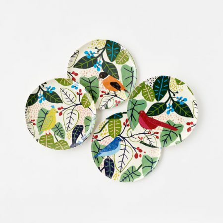 Melamine Birds and Foliage Plates