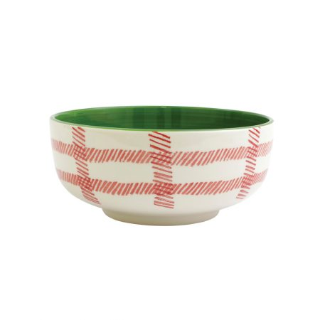 Vietri Mistletoe Plaid Serving Bowl