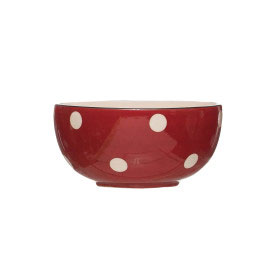 Red Dot Stoneware Bowl