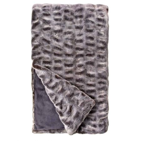 Fabulous Furs Couture Faux Fur Throw Grey Mink