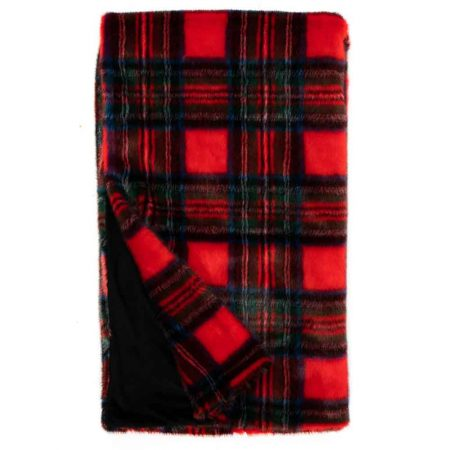 Fabulous Furs Holiday Faux Fur Throw Red Plaid