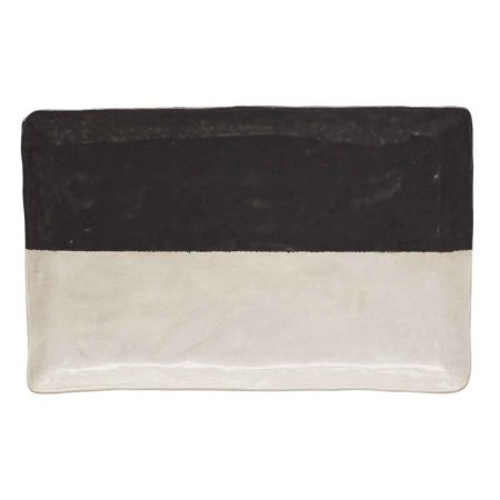 black and white serving tray