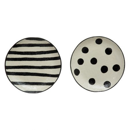 linen textured black and white stoneware plates