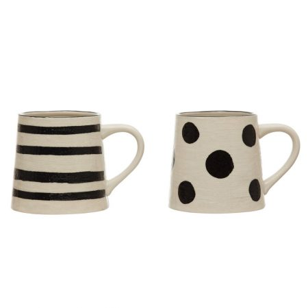 Linen Textured Black and White Mugs