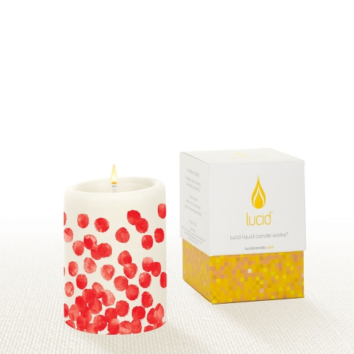 Lucid Dotty Red Pillar Candle