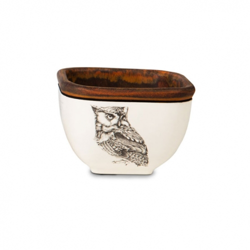 Laura Zindel Small Square Bowl Screech Owl