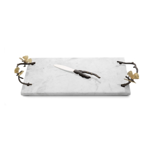 Michael Aram Butterfly Ginkgo Marble Cheese Board with Knife