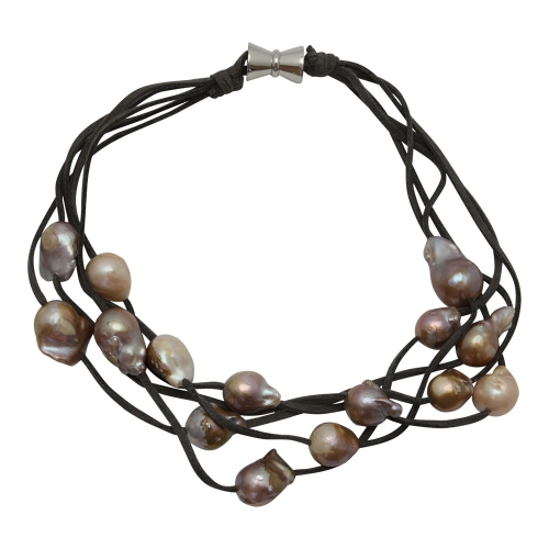 Girl with a Pearl 5 Strand Multicolored Wild Pearl on Gray Suede