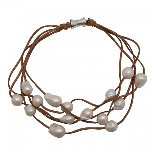 Girl with a Pearl 5 Strand White Wild Pearl on Tan Suede