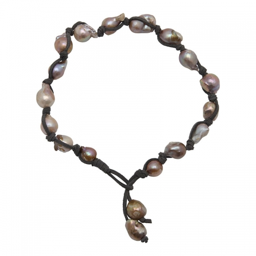 Girl with a Pearl Multicolored Wild Pearl Choker on Gray Suede