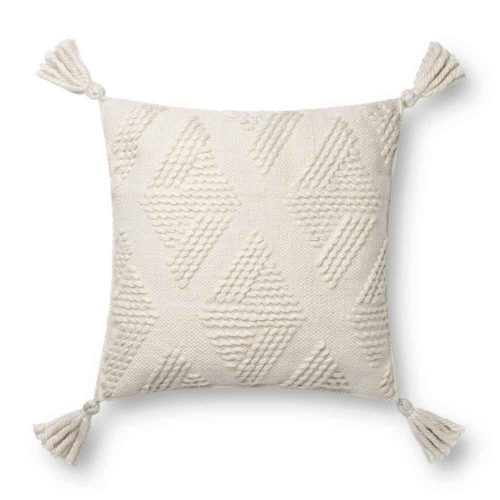 Ivory Diamond Stitch Pillow with Tassels