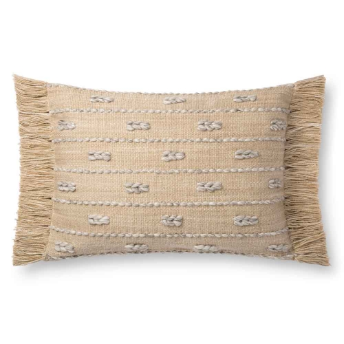Straw pillow with fringe